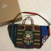 Christian Louboutin Tote Bag Mexicaba Mexican Brown Blue Multicolor Flower Women