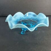 Northwood Beaded Cable Blue Opalescent Crimped Ruffled Footed Candy Dish Bowl