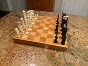 Queen's Gambit Vintage Hand Carved Mexican Bone Pulpit Chess Set W/ Board