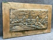 Heavy Antique French Bronze Plate Low Relief Early 1900's Strasbourg Alsace 5lb