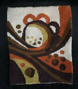 Vintage Swedish Mid Century Tapestry / Flemish Woven Wall Hanging Abstract 70's
