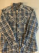 Bke Buckle Men Pearl Snap Button Plaid Long Sleeve Shirt Large Athletic Fit