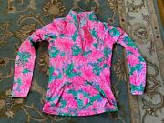 Nwt Lilly Pulitzer Sz M Luxletic Justine Pullover Pink Blossom Try Your Zest New