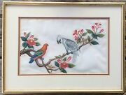Chinese Painting Pith Rice Paper Exotic Birds Circa 1850 Pair