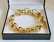 9ct Yellow Gold Chunky Belcher Bracelet 8.25 Chain 12 - 15mm Round Links 37.6g