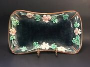 Antique English Majolica Tray Wild Roses On Basketweave C.1880s Great Colors