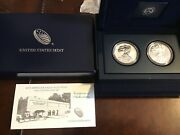 2013 American Eagle Two Coin West Point Silver Proof Set With Bix And Coa