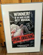 Original Nyc Broadway Cast Signed Spring Awakening Framed Poster Collectible