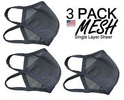 3 Pack Sports Mesh Black Sheer Face Mask Breathable Made In Usa - See Video