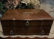 Large Wooden Jewelry Box W/ Brass Pulls And Brass Nameplate Vintage Antique