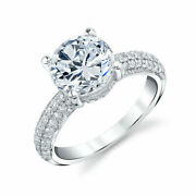 1.30 Ct Round Cut Real Diamond Engagement Solitaire Ring 14k White Gold Solid