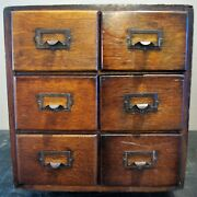 Andnbspantique 6 Drawer Oak Library Index 4 X 5 Card Catalog File Cabinet