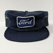Vintage Ford Logo Car Truck Patch Blue Snapback Truckers Hat Cap Advertising