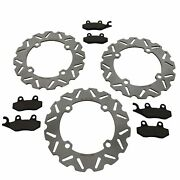 2011-2017 Can-am Commander 800r Xt Front And Rear Sport Brake Rotors And Brake Pads