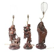 Set Hand Carved Chinese Buddha Lamps Antique Lights Figurines 1880