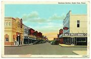 Eagle Pass Texas Postcard Business Section Rexall Drugs Aztec Theatre 83527