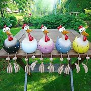 5pcs Funny Chicken Yard Art Resin Rooster Outdoor Statues Decorative Garden S...