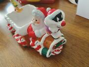 Looney Tunes Tweety And Sylvester Pottery Santa Claus Ornament