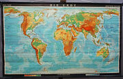 Large Vintage World Map Earth Poster Rollable Wall Chart Mural Decoration
