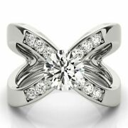 Naturel 1.00 Ct Fianandccedilailles Diamant Bague Poinandccedilonnandeacutee 14k Solid Blanc Or Taille 7