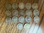 Lot Of17 War Time Jefferson Nickels 35 Silver,1942-1945 Circulated