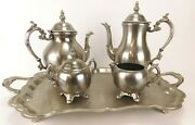F.b Rogers Silver Co 1883 Silver Plate Pewter Lite 5 Pc. Coffee/tea Service Set
