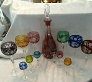Vintage Hungarian 24 Lead Crystal Cut To Clear Decanter 12 Glasses G1
