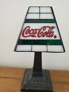 Coca Cola Tea Light Candle Holder Stained Glass Shade
