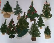 Vintage Artificial Christmas Tree Lot Holiday Decor 10 Pine Trees Some Decorated