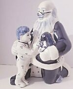 Rare Signed Potting Shed Dedham Christmas Retired Santa W/ Boy And Puppy Figurine