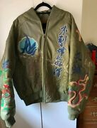 Vintage Jacket Rare Great Wall Of China Al Wissam Genuine Leather Coat Mens 52