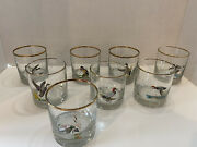 Vintage Ned Smith Signed Game Bird Duck Whiskey Glasses Set Of 8 Gold Rim 3 1/2