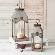 Farmhouse Country Set Of Two Galvanized Candle Lanterns With Wood Base Holder