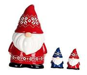 Red Christmas Gnome 11 Inch Air Tight Cookie Jar With Salt And Pepper Set