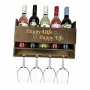 Natural Wooden Happy Wife Happy Life Wine Rack Wall Wine Gifts Wine Bottle