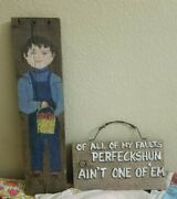Handpainted Barn Wood Vintage Backwoods Humorous Sign And Farmer Boy With Apples