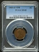 1909 S Vdb Lincoln Cent Pcgs Xf 45