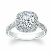 Round Cut 1.70 Ct Real Diamond Woman Engagement Ring 14k White Gold Size 6 7 9.5
