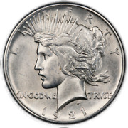 1921 1 Peace Dollar - Type 1 High Relief Pcgs Ms61 Cac 3296-3