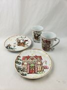 Williams Sonoma Twas The Night Before Gingerbread House And Reindeer Plates And Cups