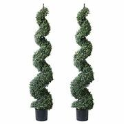 Spring Artificial Spiral Boxwood Topiary Tree In Plastic Pot Indoor And 47and039and039 2
