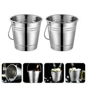 2pcs Stainless Steel Ice Bucket Portable Beer Bucket For Home