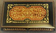 Exquisite Vintage Italian Wooden Inlay Musical Jewelry Box With Lock And Key