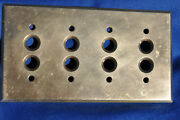 Antique The Perkins Solid Brass 4 Gang Electric Push Button Switch Plate Cover
