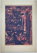 Color Woodblock By St. Louis Artist Belle Cramer 1950and039s Abstract Expressionism