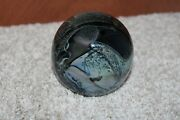 1981 Signed Randy Strong Abstract Art Glass Round Paperweight Blue Black 3.5