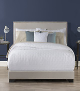 Willow Nailhead Trim Upholstered Queen Bed Fog By Hillsdale Living Essentials
