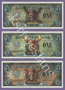 2007 Pirate Disney Dollars E00000555 3-way Matched Repeaters Eb Ef And Ee Mint