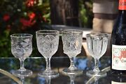 4 Antique Pressed Glass Wine Glasses, Bryce, C. 1887, 4 Mis-matched Epag