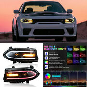 Pair Led Projector Headlights Rgb Color Change Lamps For 2015-2020 Dodge Charger